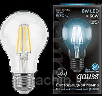 102802206 Gauss лампа LED Filament A60E27 6W 4100K