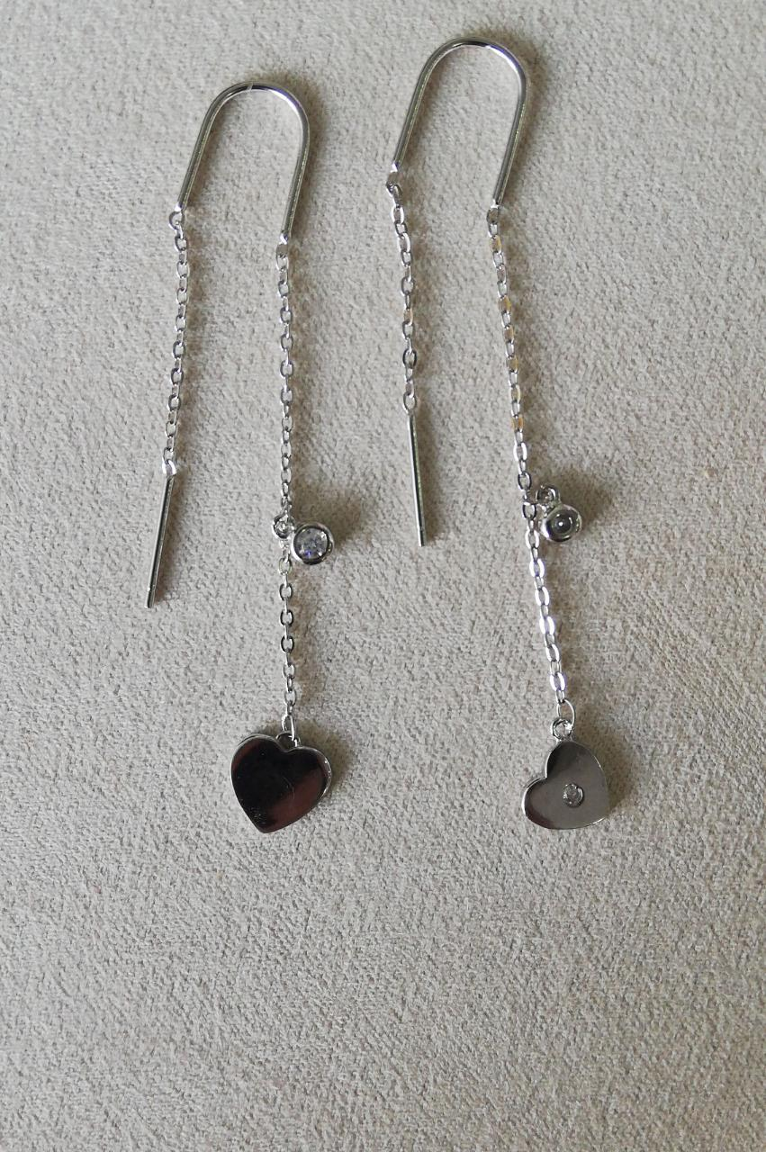 """Серьги-протяжки серебряные """"Два сердца"""". Вставка: белые фианиты, вес: 2 гр, длина: 8 см, покрытие ро"""