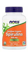 Спирулина. Now Foods,  Натуральная спирулина, 500 мг, 200 таблеток. Без ГМО.