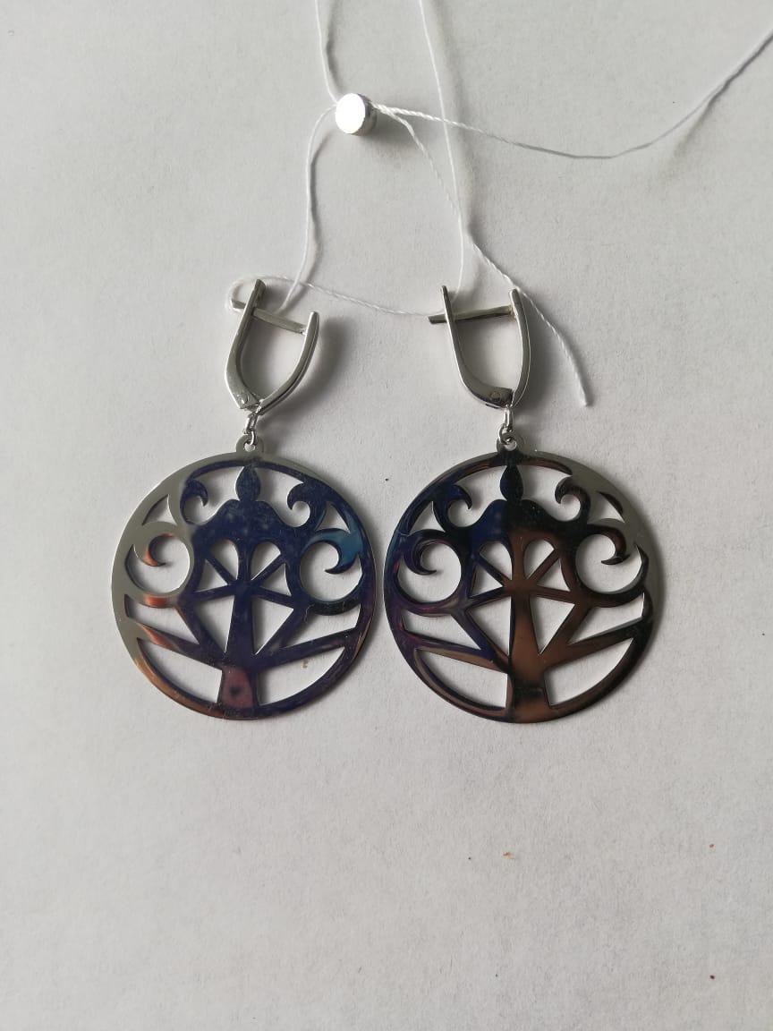 Серебряные серьги в Национальном стиле с ласточками. Вес: 5,2 гр, длина: 4,6 см, диаметр: 3см, заст