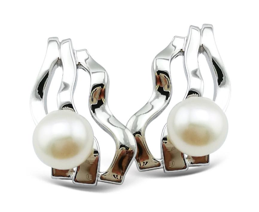 Серебряные классические серьги (английская застежка). Вставка: речной жемчуг, вес:1,24 гр ,длина: 1,