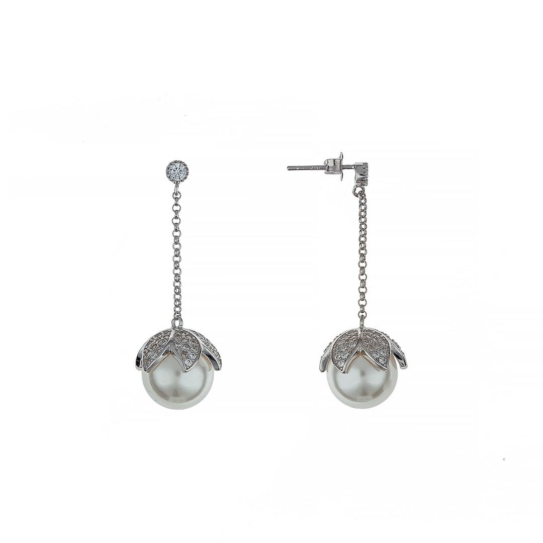 Серебряные длинные серьги на цепочке (гвоздики).  Вставка:культивированный жемчуг,фианит, длина: 4см