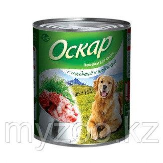 Оскар влажный корм для собак с говядиной и индейкой 750 гр