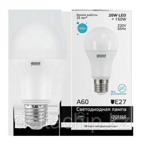23229   Gauss лампа Elementary A60 20W E27 4100K