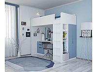 Кровать-чердак SIMPLE белый-синий (Polini, Россия)
