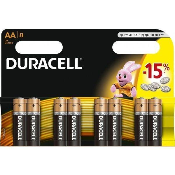 Батарейка DURACELL Basic AA 1.5V LR6 Пальчиковые (8шт)