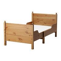 Кровать детская раздв ЛЕКСВИК +реечн днище морилка/антик ИКЕА, IKEA, фото 1