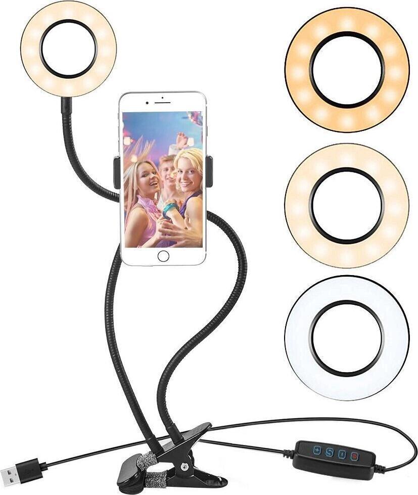 Кольцевая лампа на прищепке с держателем для телефона (Black)