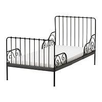 Кровать каркас раздв МИННЕН +реечн днище, черный ИКЕА, IKEA, фото 1