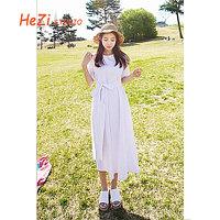 Хлопковое белое женское платье, универсальный размер.