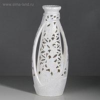 """Ваза напольная """"Венеция"""" резка, белая, 65 см, микс, керамика"""