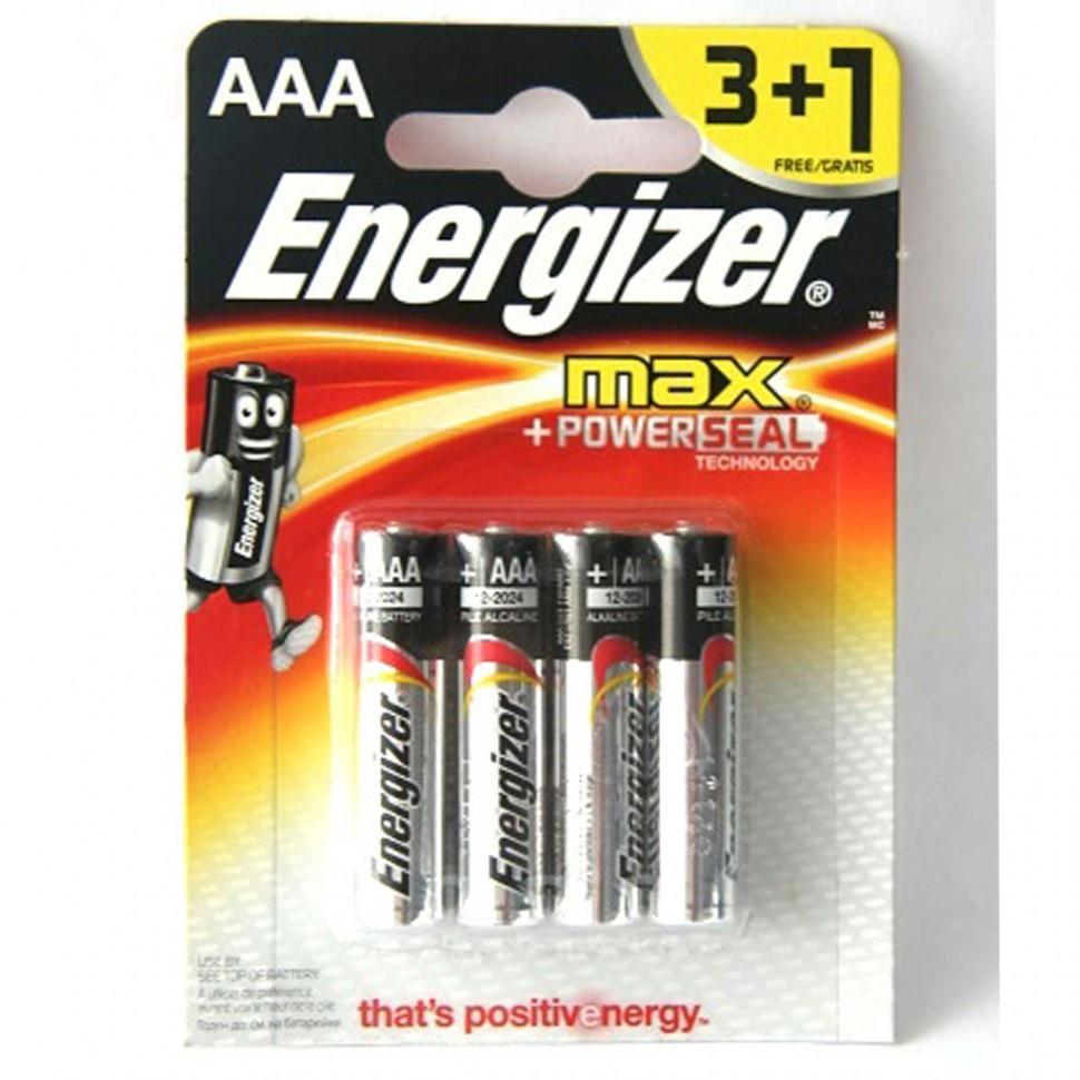 Элемент питания LR03 АAA Energizer MAX  Alkaline 3+1 штуки в блистере