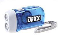 Динамо-фонарь DEXX ручной ЖУК в пластмассовом корпусе, 2 светодиода