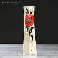 """Ваза настольная """"Консул"""", цветы, цвет белый,художественная роспись, 37 см, микс, керамика"""