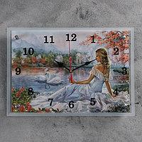 """Часы настенные, серия: Люди, """"Девушка и лебеди"""", 25х35 см, микс"""