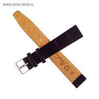 Ремешок для часов, мужской, 16 мм, черный, фактура крокодил микс