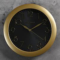 """Часы настенные круглые """"Золотая классика"""", накладные цифры, чёрный циферблат"""
