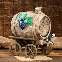 """Бочка для вина """"Виноград"""" на телеге, 7,5 л"""