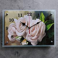 """Часы настенные, серия: Цветы, """"Белые розы"""" микс 25х35см"""