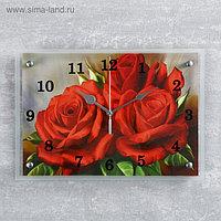 """Часы настенные, серия: Цветы, """"Красные розы""""25х35 см, микс"""