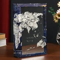 Сейф-книга дерево кожзам 'Карта мира' зеркало 26х17х5 см