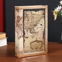 Сейф-книга дерево кожзам 'Старинная карта' зеркало 24х16х5 см