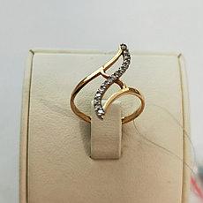 Золотое кольцо с фианитом / 17 размер (Россия)