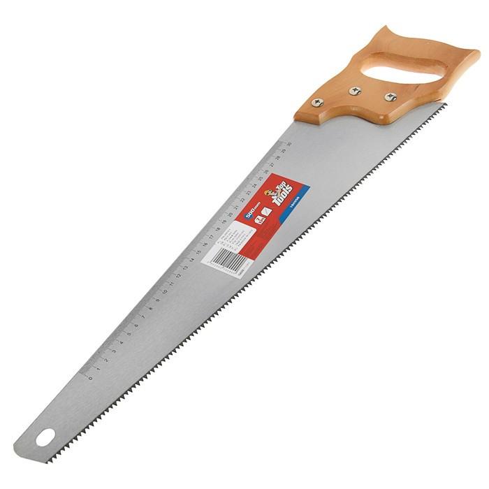 Ножовка по дереву Top Tools, 500 мм, 7TPI, линейка, деревянная рукоятка