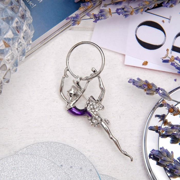 """Брошь """"Гимнастка"""" с хулахупом, цвет фиолетовый в серебре"""