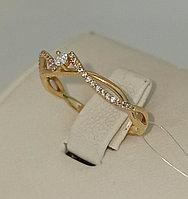 Золотое кольцо с бриллиантом / жёлтое золото - 17 размер
