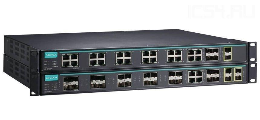 Промышленный коммутатор MOXA ICS-G7826A-4GTXSFP-2XG-HV-HV
