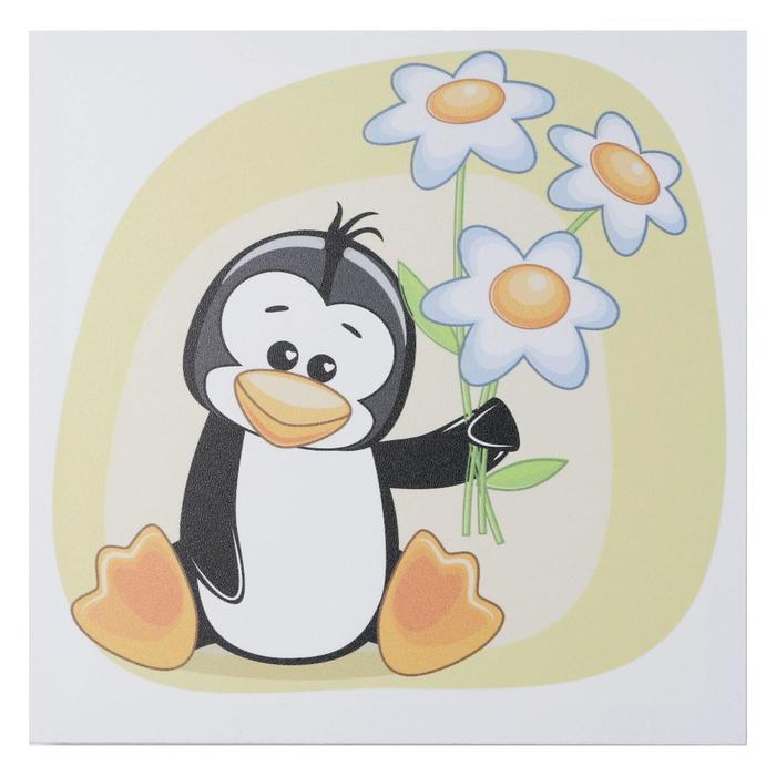 "Картина ""Пингвин с ромашками"" 35х35 см"