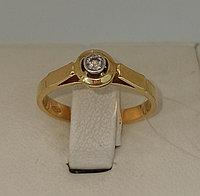 Кольцо с бриллиантом / жёлтое золото - 18 размер
