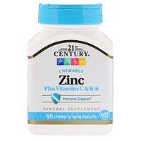 БАД Цинк аспартат + Витамины C & B-6, вишневый вкус (90 жевательных таблеток)