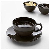 ВАРДАГЕН Чашка кофейная с блюдцем, темно-серый, 14 сл