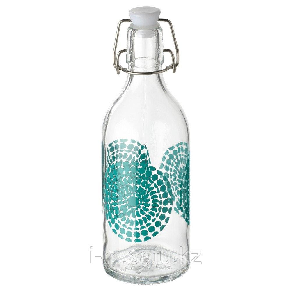 КОРКЕН Бутылка с пробкой, прозрачное стекло, с рисунком, 1 л