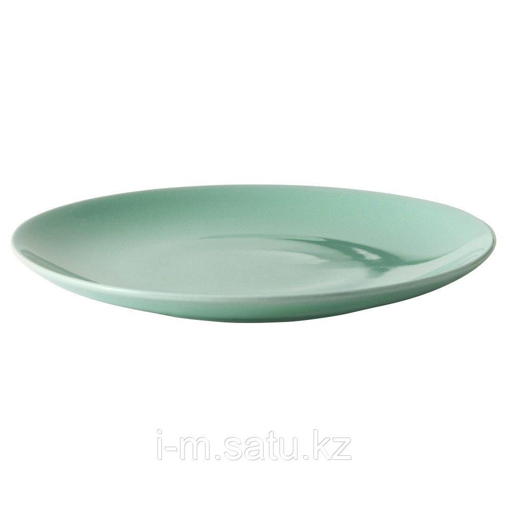 ФЭРГРИК Тарелка, каменная керамика, светло-зеленый 27см