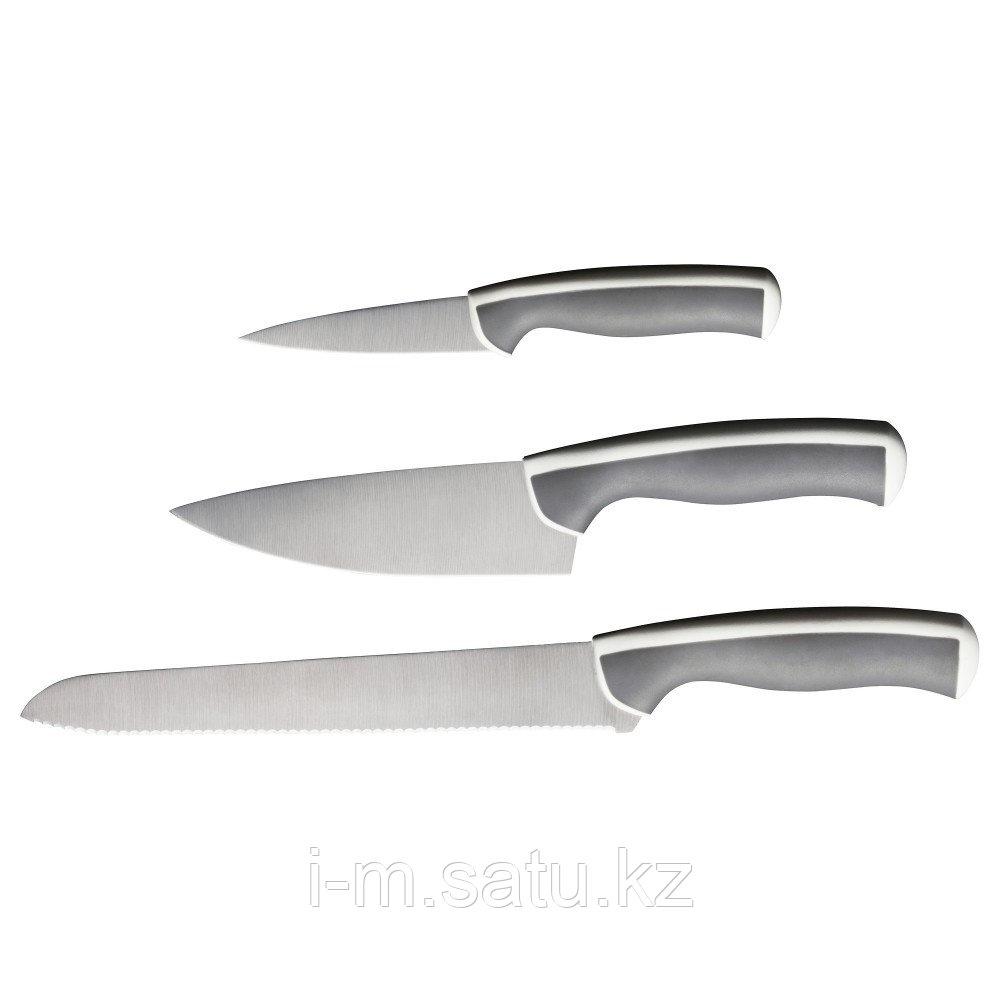 ЭНДЛИГ Набор ножей,3 штуки, светло-серый, белый