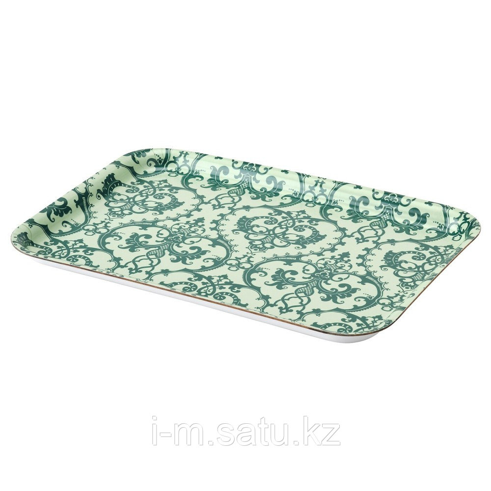 МУСТИГХЕТ Поднос, с рисунком, зеленый, 28x20 см