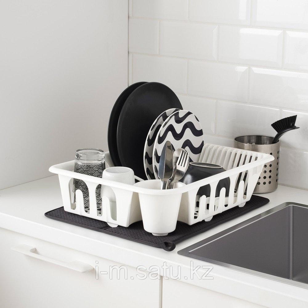 НЮХОЛИД Коврик для сушки посуды, темно-серый