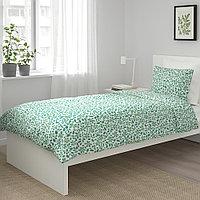 ЮВЕЛЬБЛОММА Пододеяльник и 1 наволочка, белый, зеленый, 150x200/50x70 см