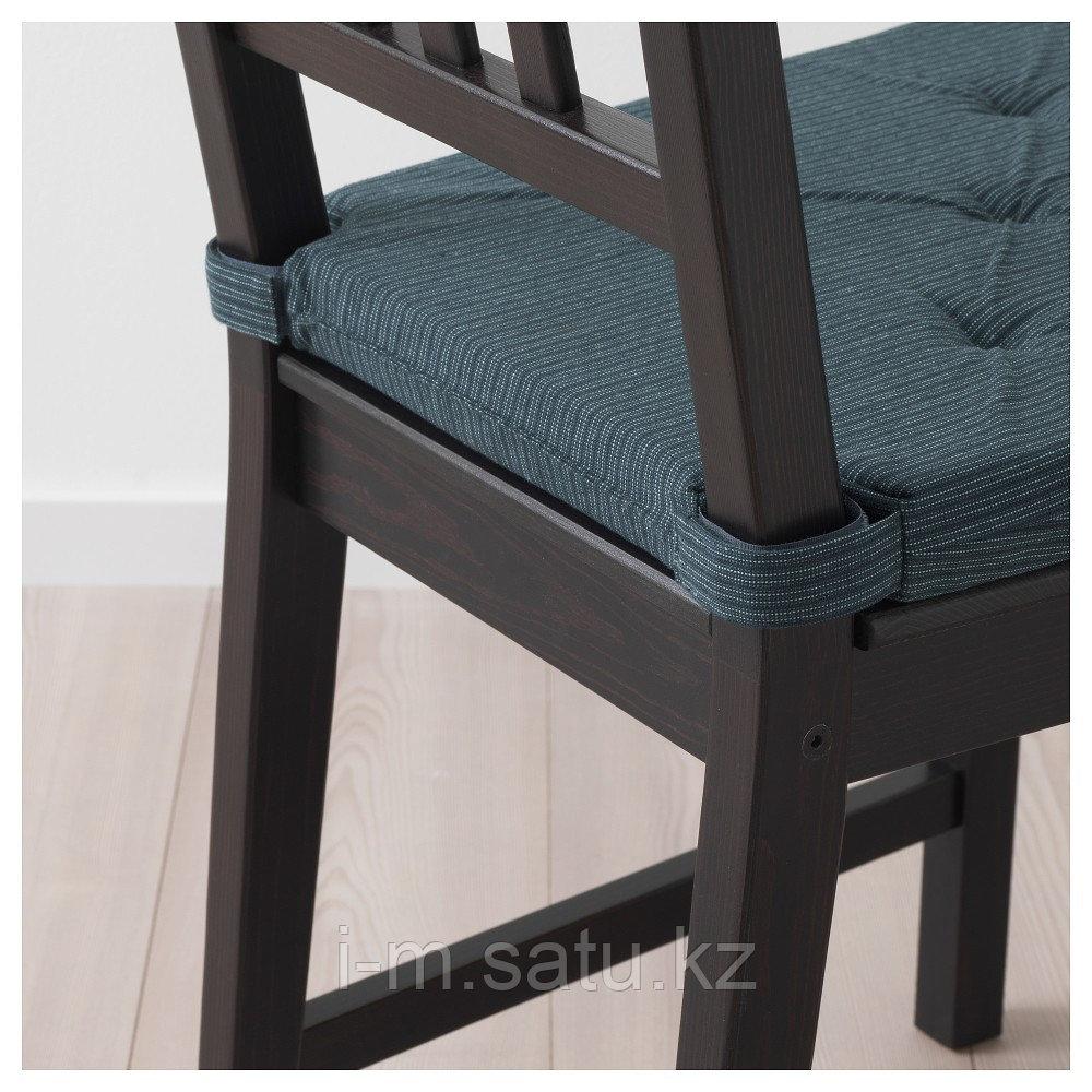 ЮСТИНА Подушка на стул, темно-синий, в полоску
