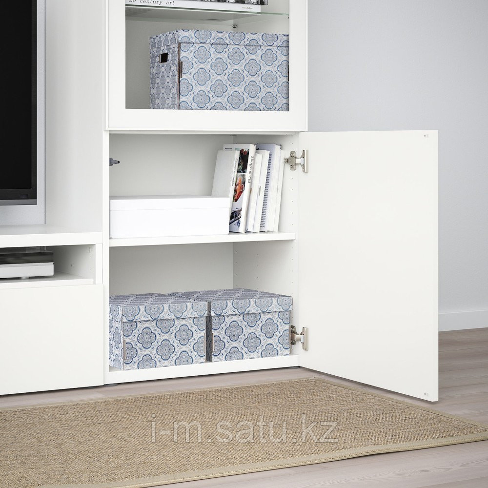 СМЕКА Коробка с крышкой, серый, цветок, 26x32x17 см