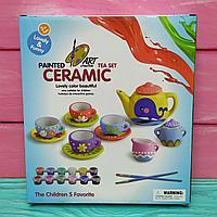 Набор для творчества Чайный сервиз для раскраски. 2 кисточки, 12 красок