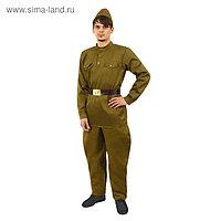 Костюм мужской «Военный», гимнастёрка, брюки-галифе, ремень, пилотка, р. 48, рост 176-180 см