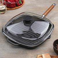 Сковорода-гриль чугунная 28х28 см, съёмная ручка и стеклянной крышкой