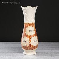 """Ваза напольная """"Весна"""", цветы, роспись, цвет бело-коричневый, 43 см, микс, керамика"""