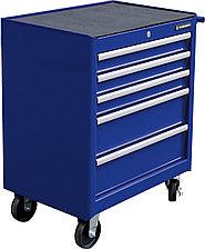 Тележка инструментальная для автосервиса с 5 ящиками, синего цвета