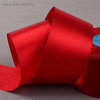 Лента атласная, 50 мм × 33 ± 2 м, цвет красный №065