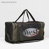Сумка спортивная, отдел на молнии, наружный карман, длинный ремень, цвет хаки/чёрный